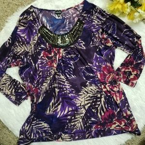 Rafaella Top Small Purple Jeweled Scoop Neck 3/4 S